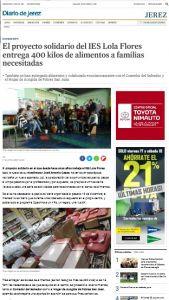 Leer más: Diario de Jerez - El proyecto solidario del IES Lola Flores entrega 400 kilos de alimentos a...